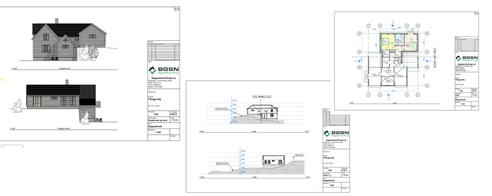 collage av byggetegninger